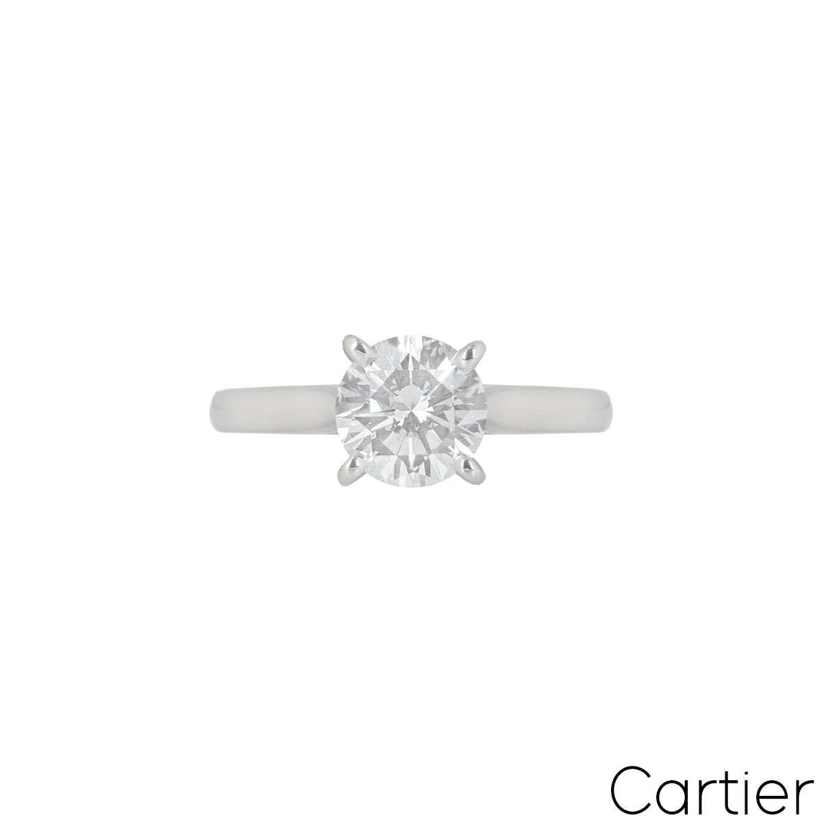 Cartier Platinum Diamond 1895 Solitaire Ring 1.54ct G/VS2